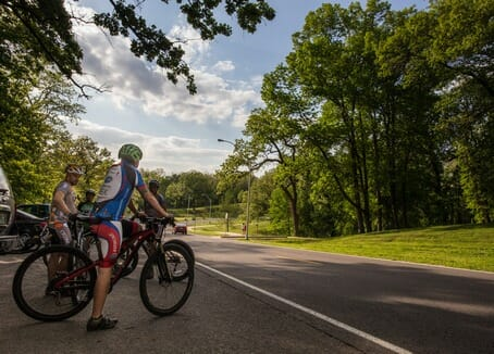 Mountain bikers frequently take advantage of many vast trails systems that are scattered along St. Joseph's Parkway. (Photo by: Patrick P. Evenson)